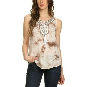 Tops - NEW Arrival ! Embroidered Tie Dye Top